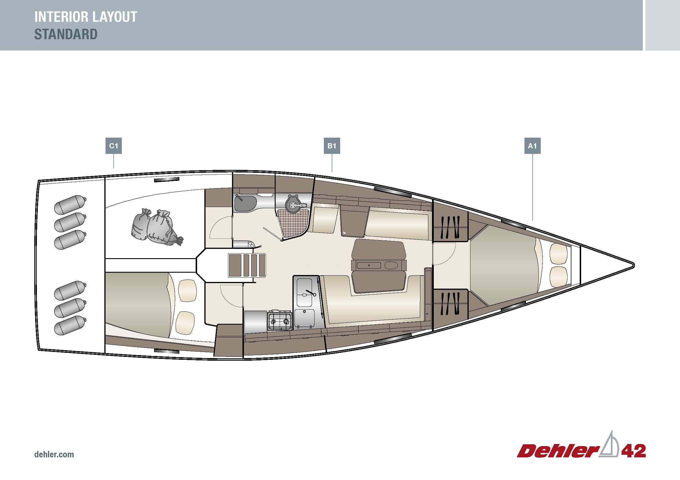 Dehler _42_Interior_Layout_A1B1C1_Standard