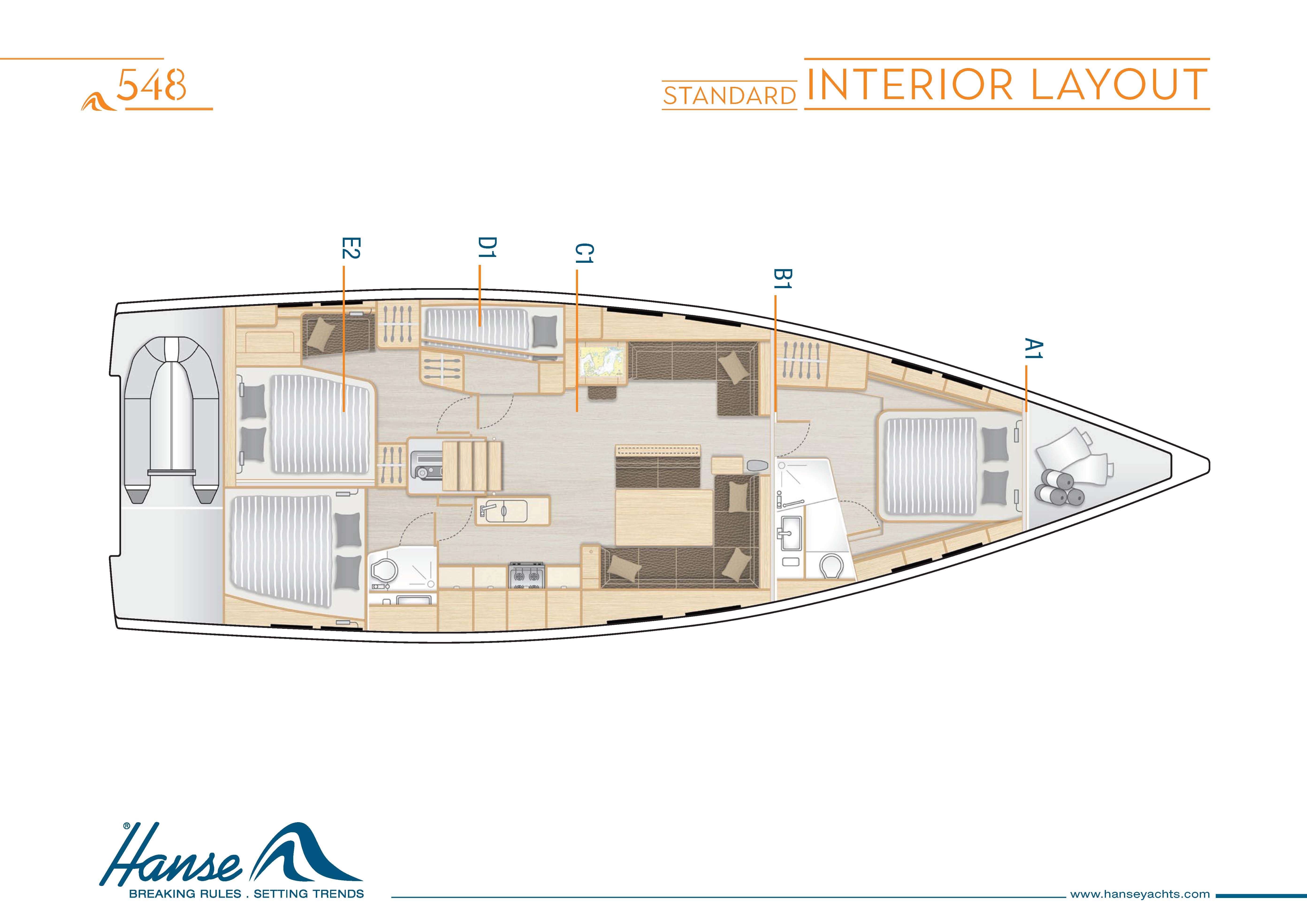 Hanse_548_Interior_Layout_A1_B1_C1_D1_E2